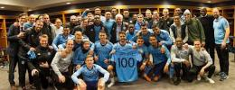 David Villa celebra su partido 100 con el New York City.