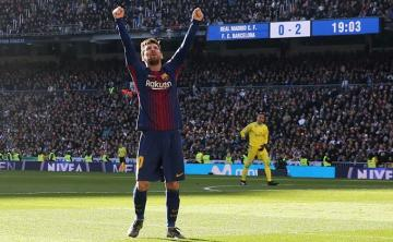 Leo Messi celebra su gol al Real Madrid.