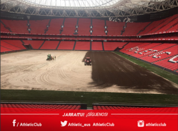 Estado actual del terreno de juego de San Mamés (Foto: Athletic Club).