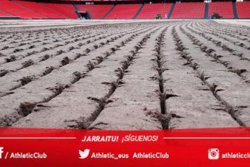 Estado del terreno de juego de San Mamés (Foto: Athletic Club).