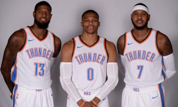 Paul George, Russell Westbrook y Carmelo Anthony.