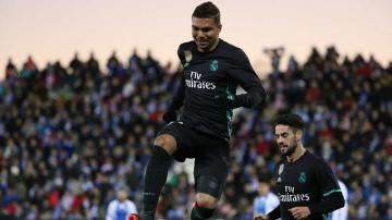 Casemiro celebra su gol en Butarque.
