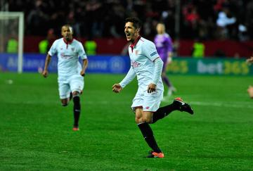 Jovetic celebrando un gol al Real Madrid.