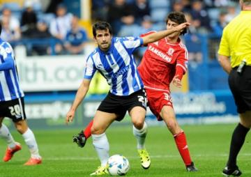Álex López en un partido con el Sheffield Wednesday.