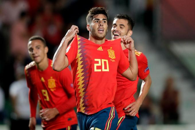 Asensio celebra su gol en el España-Croacia de la Nations League.
