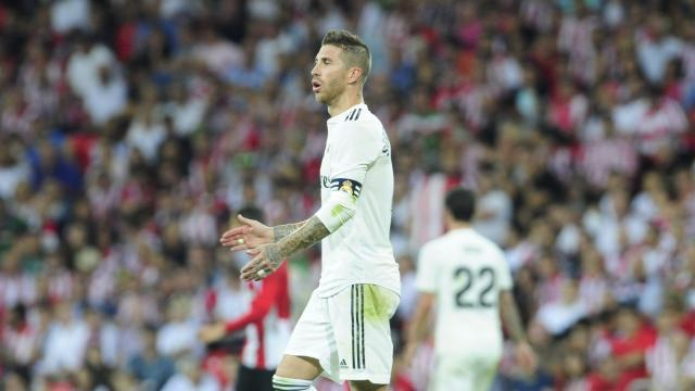 Sergio Ramos, durante el Athletic-Real Madrid.