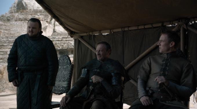 Samwell Tarly, Howland Reed y Edmure Tully.