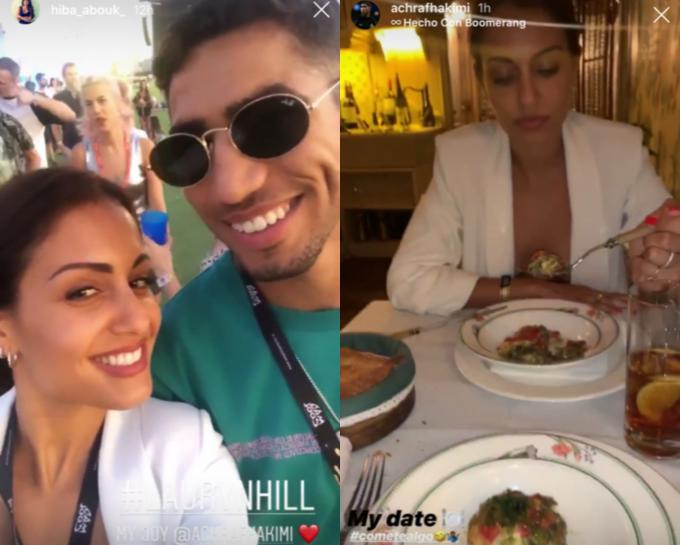 Achraf Hakimi e Hiba Abouk, en el festival Mad Cool y de cena por Madrid (Fotos: Instagram Stories).