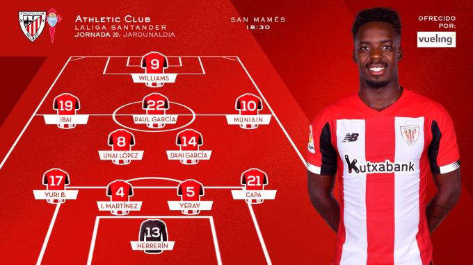 El once del Athletic para el duelo ante el Celta de Vigo (Foto: Athletic Club).