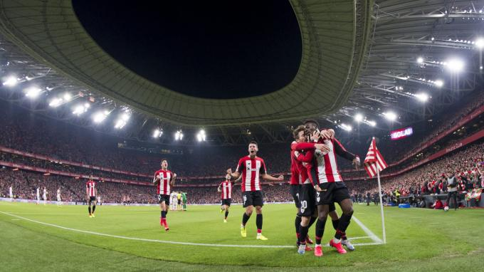 Los leones, con Williams y Muniain en primer plano, festejan el gol al Granada (Foto: Athletic Club