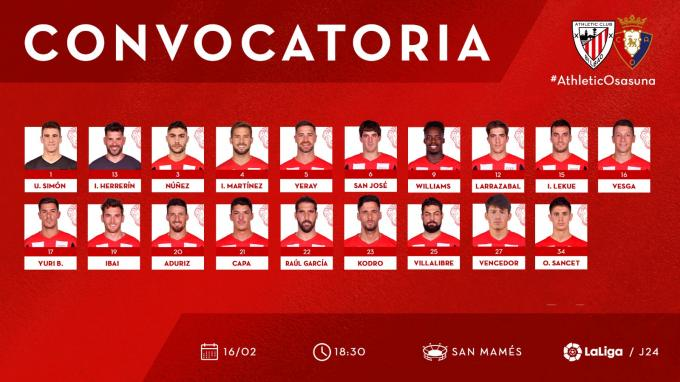 Convocatoria del Athletic Club para enfrentarse a Osasuna.