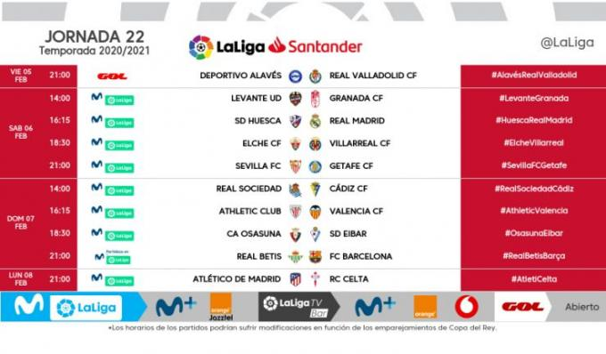 Horario Jornada 22 modificado.