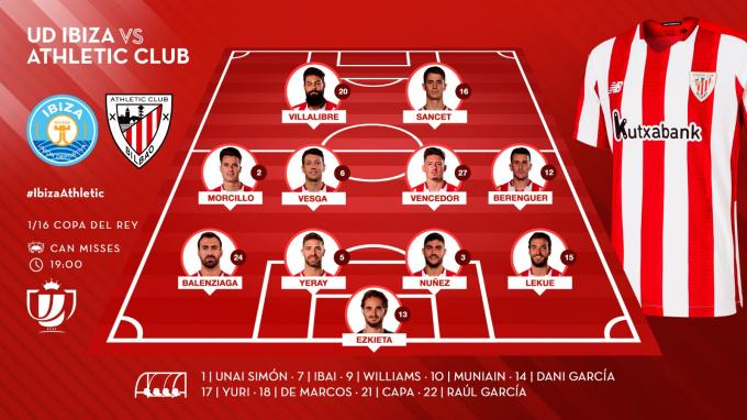 El once de Marcelino ante el Ibiza en la Copa (Foto: Athletic Club).